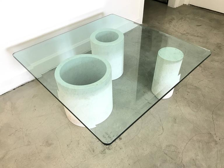 Angelo Mangiarotti Style Carrara Mable Glass Cocktail or Coffee Table, 1987 In Excellent Condition For Sale In Miami, FL