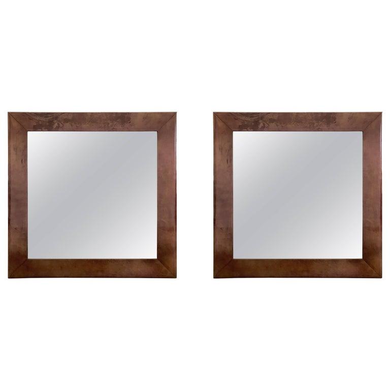 Aldo Tura Purple Goatskin Mirror For Sale 2