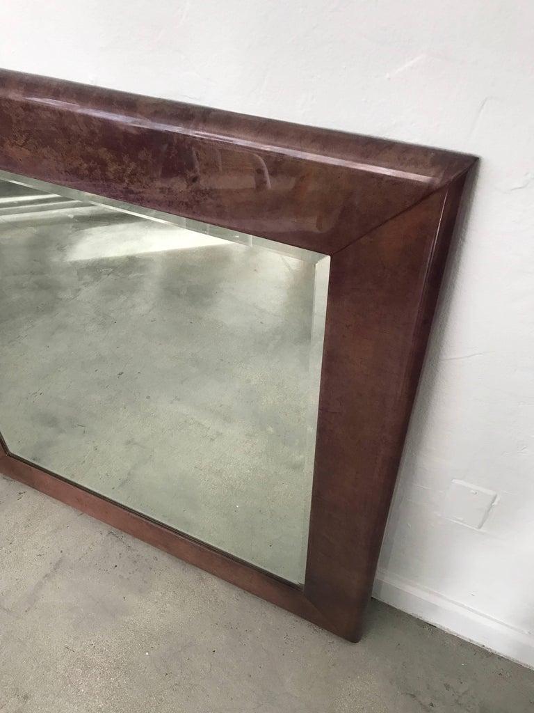 Italian Aldo Tura Purple Goatskin Mirror For Sale