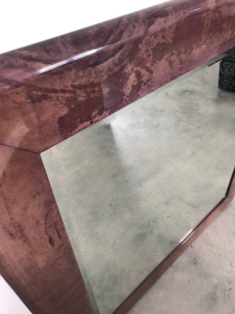 Aldo Tura Purple Goatskin Mirror In Excellent Condition For Sale In Miami, FL