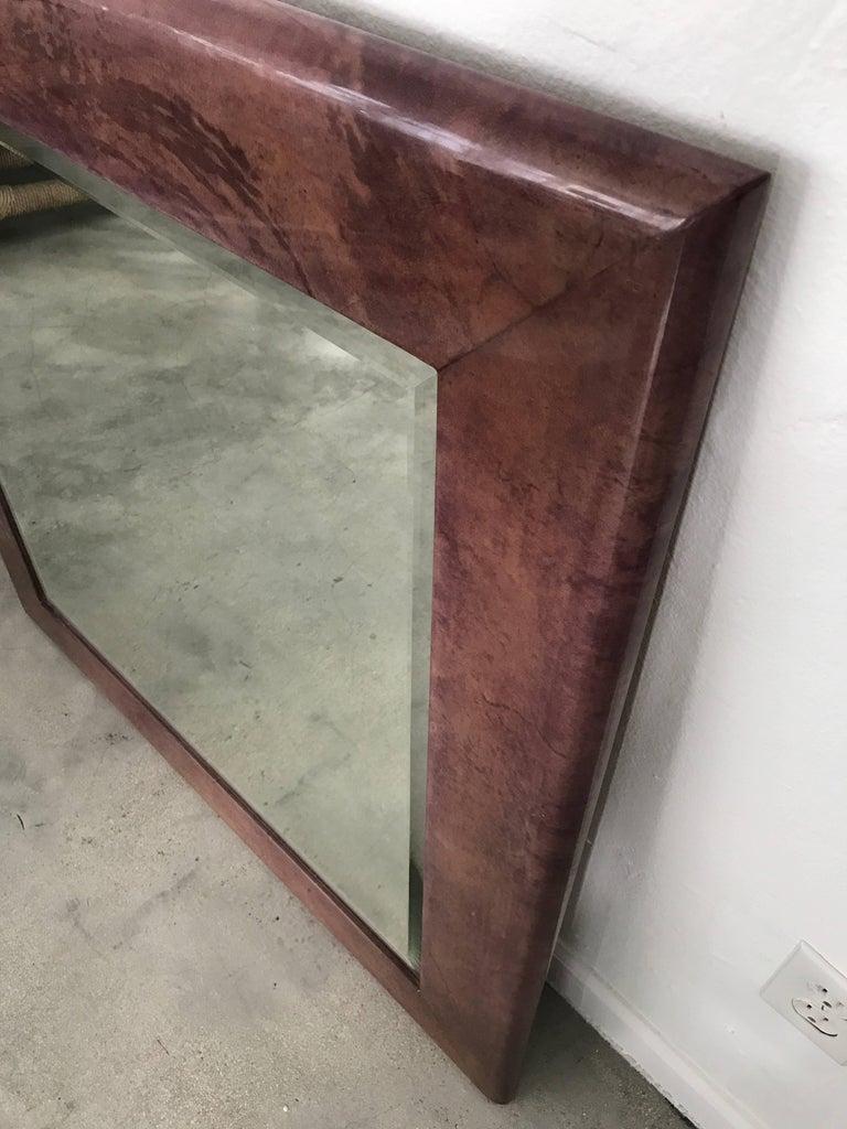 20th Century Aldo Tura Purple Goatskin Mirror For Sale