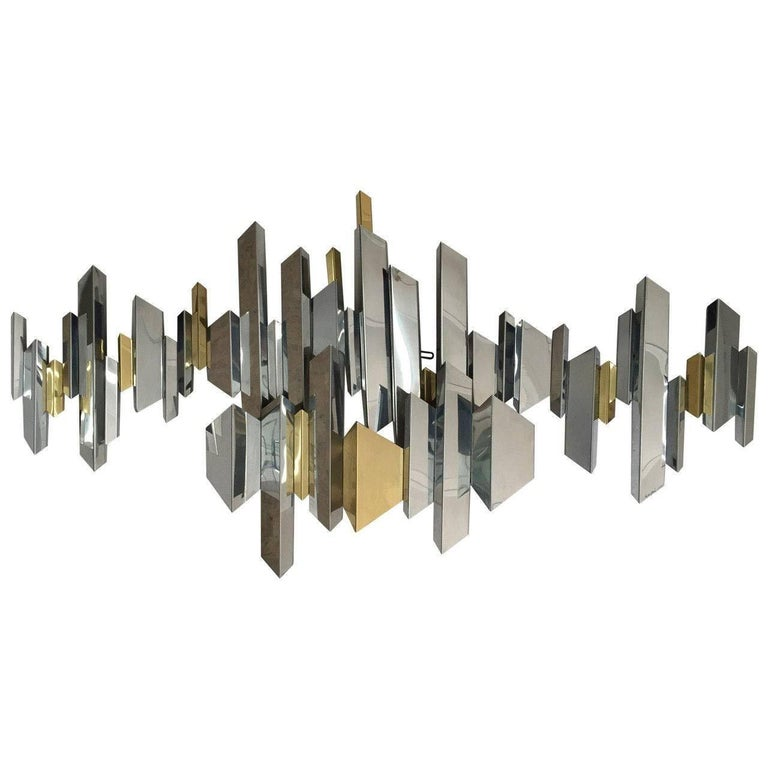 Curtis Jere Brass and Chrome Wall Sculpture 1