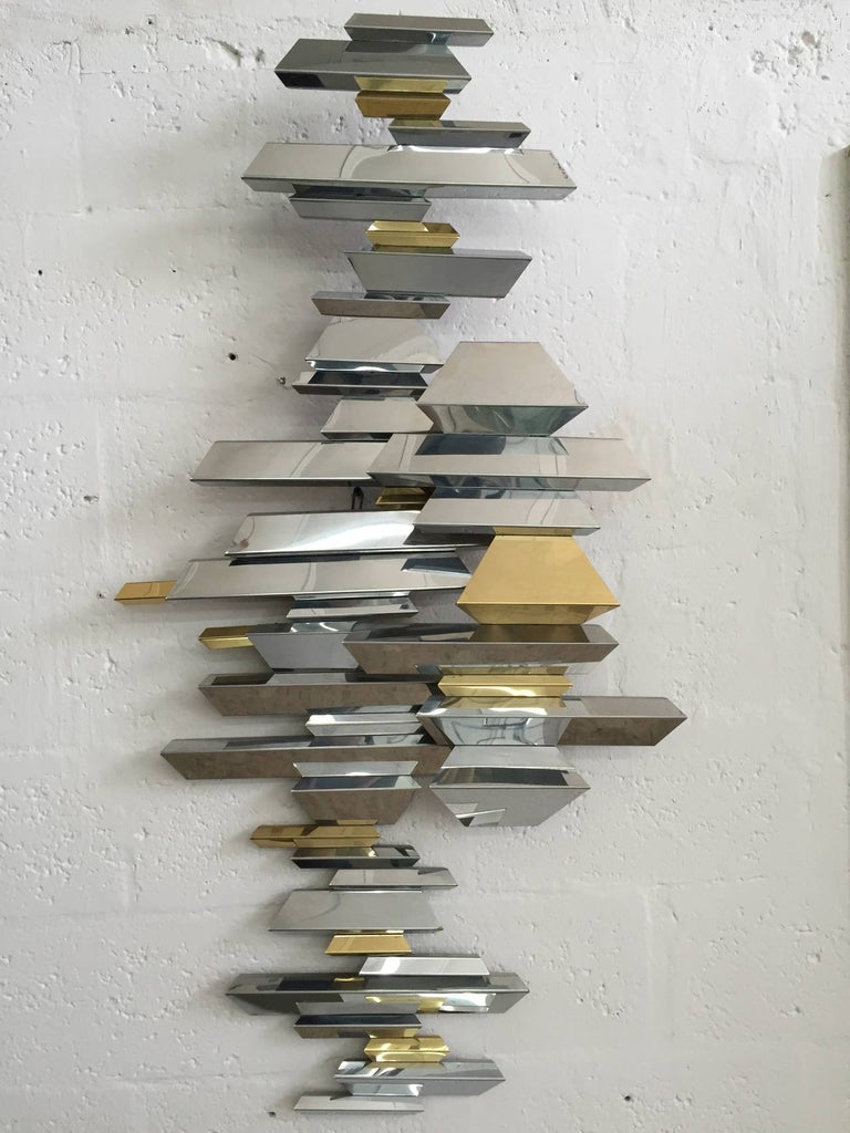 Curtis Jere Brass and Chrome Wall Sculpture 2