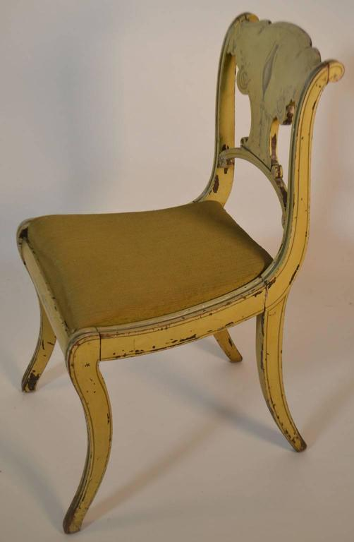 19th Century Set of Four English Small Painted Chairs For Sale 1
