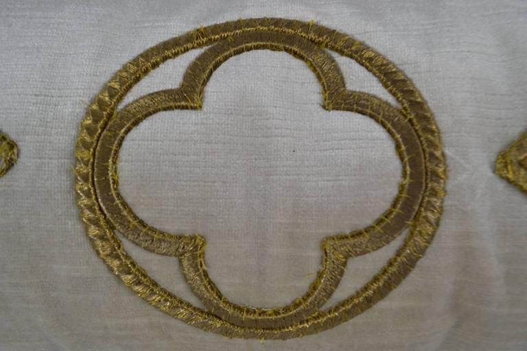 European Antique Raised Gold Metallic Embroidered Applique Pillow For Sale