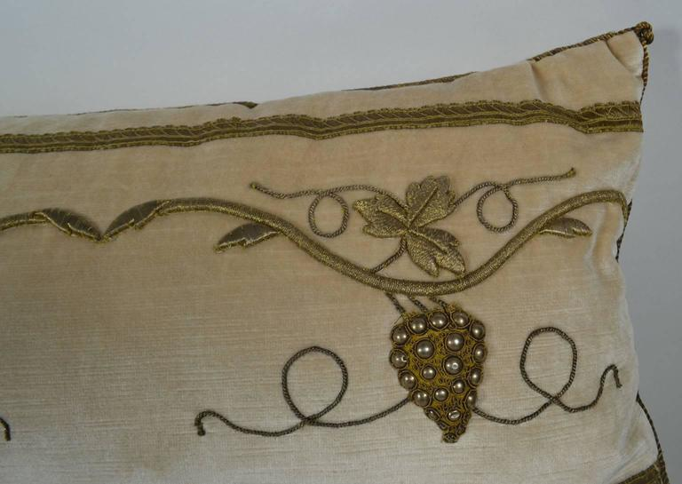 North American Pillow with Antique Raised Gold Metallic Embroidery For Sale
