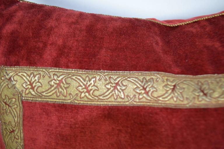 Decorative Pillows Trim : Pillow with Decorative Fabric and Antique Trim and Crest For Sale at 1stdibs