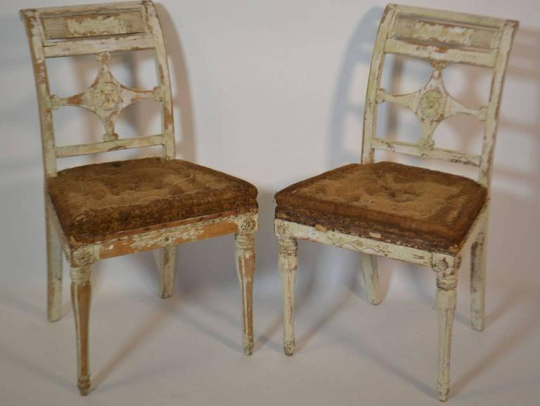 French Four Painted Swedish Chairs For Sale