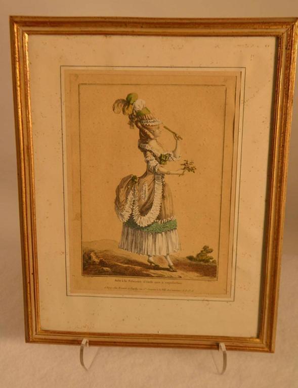 European 18th Century Framed Fashion Engraving For Sale