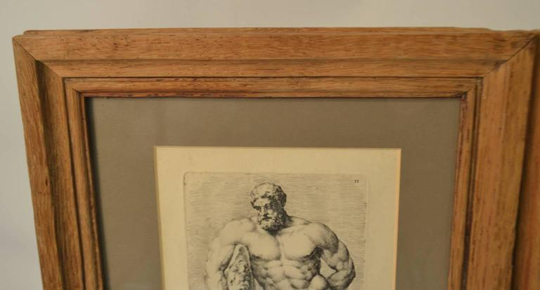 Neoclassical Bookplate etchings of the Farnese Hercules and Michelangelo's David, set of two For Sale