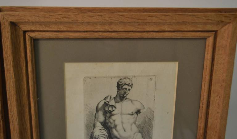 French Bookplate etchings of the Farnese Hercules and Michelangelo's David, set of two For Sale