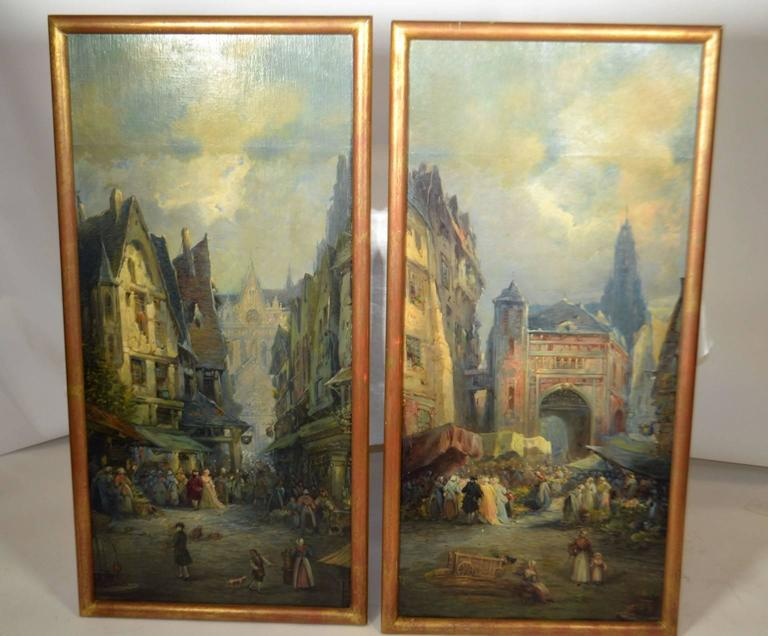 Pair of framed oil on canvas merchant street scenes of Rouen, France 1859. Signed by Jean Sorlain.