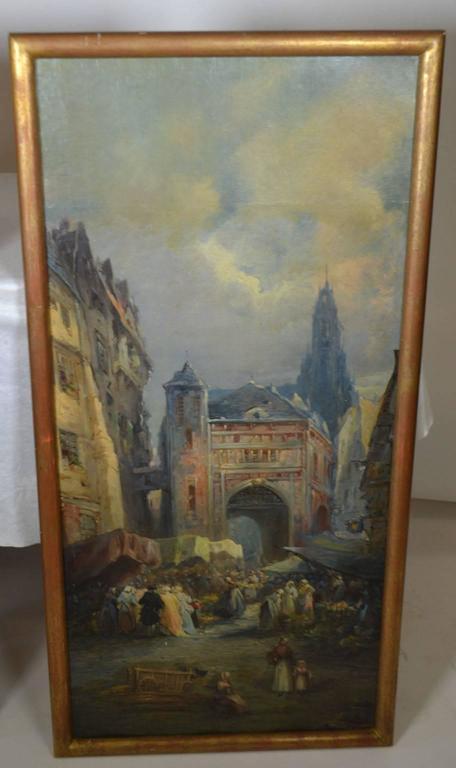 French Oil on Canvas Merchant Street Scene, Rouen, France For Sale