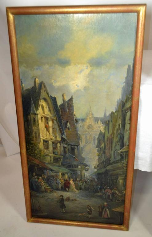 Oil on Canvas Merchant Street Scene, Rouen, France In Good Condition For Sale In Vista, CA