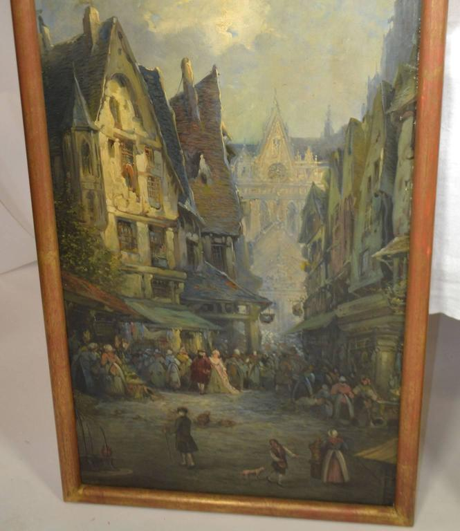 Oil on Canvas Merchant Street Scene, Rouen, France For Sale 1