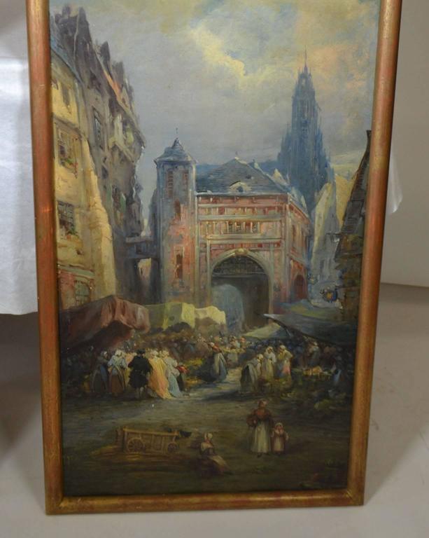 19th Century Oil on Canvas Merchant Street Scene, Rouen, France For Sale