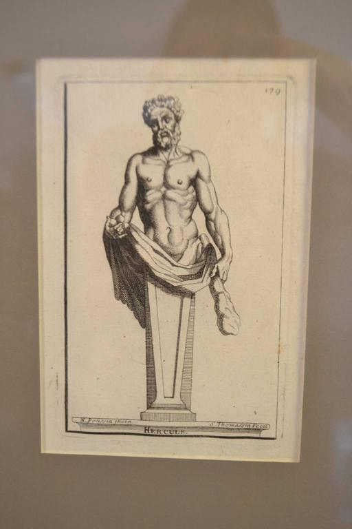 Engraved Six Copperplate Engravings of Sculptures in the Garden of Versailles For Sale