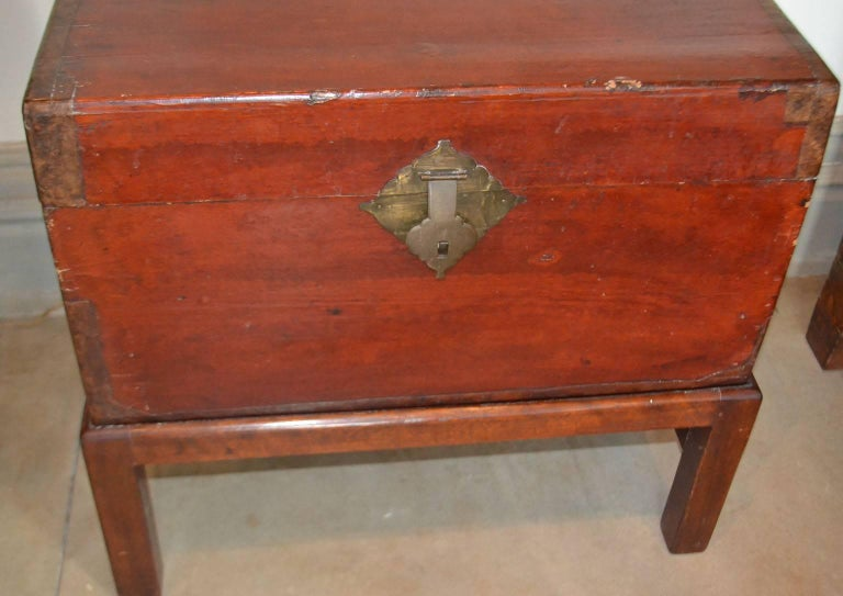 Chinoiserie 19th Century, Chinese Chest on Stand For Sale