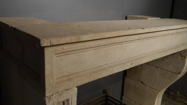 French 19th Century antique Large Stone Fireplace mantelpiece For Sale 3