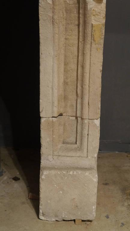 French 19th Century antique Large Stone Fireplace mantelpiece For Sale 4