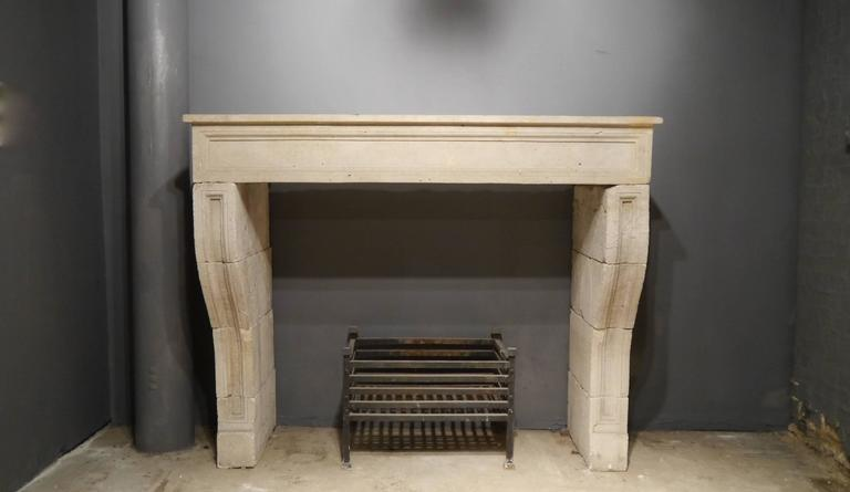 French 19th Century antique Large Stone Fireplace mantelpiece For Sale 6