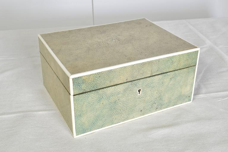 Beautiful hinged shagreen box in a pale green coloration.