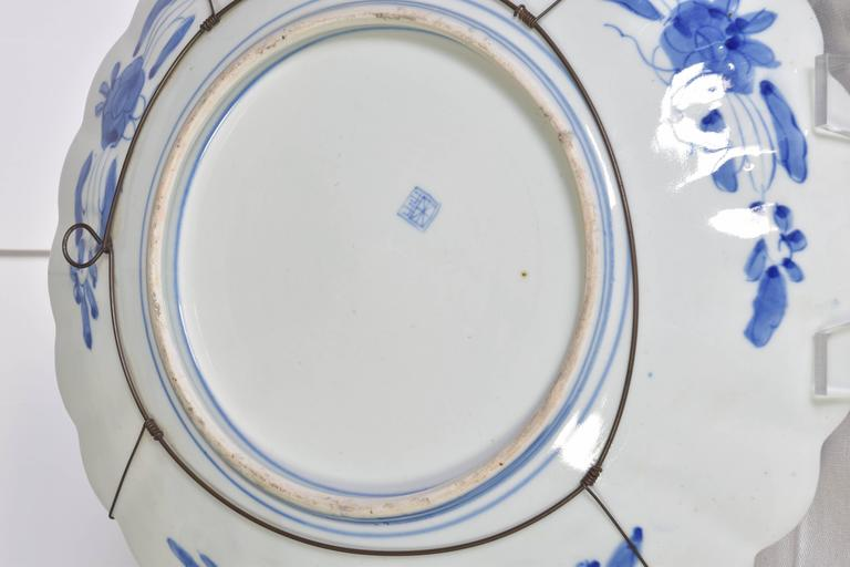 Pair Of Japanese Blue And White Scalloped Chargers For