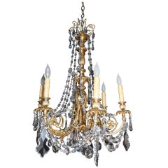 Bronze Six-Arm Chandelier with Faceted Crystal Prisms