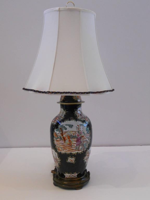 Beautifully painted Chinese export vase wired as a lamp in the 20th century.