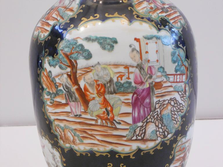 Porcelain 19th Century Chinese Export Vase as a Lamp For Sale
