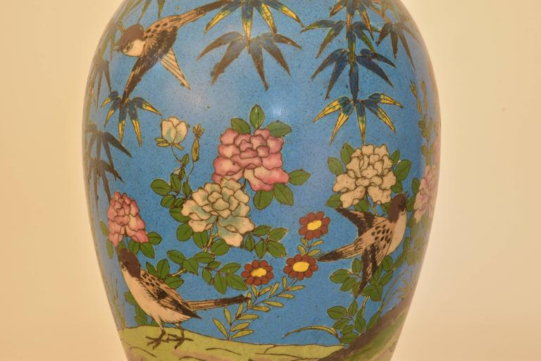 Chinese Export Cloisonné Lamp For Sale