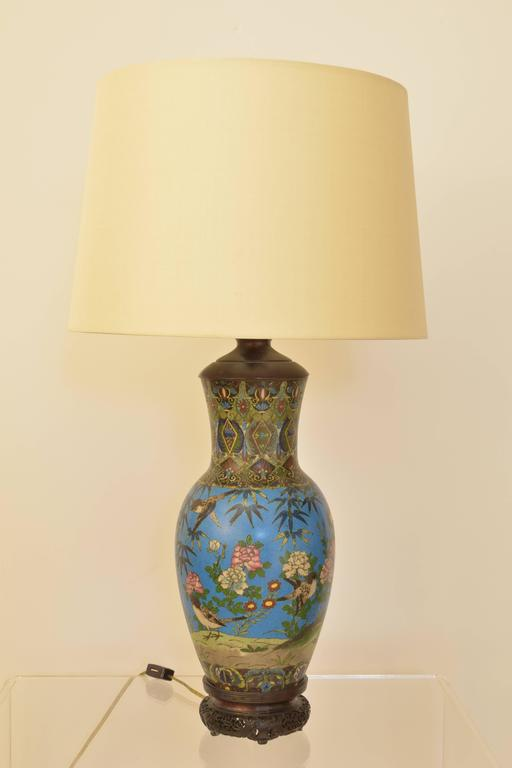 Elegant An Early Cloisonné Vase Wired As A Lamp In The 20th Century On A Vintage  Base