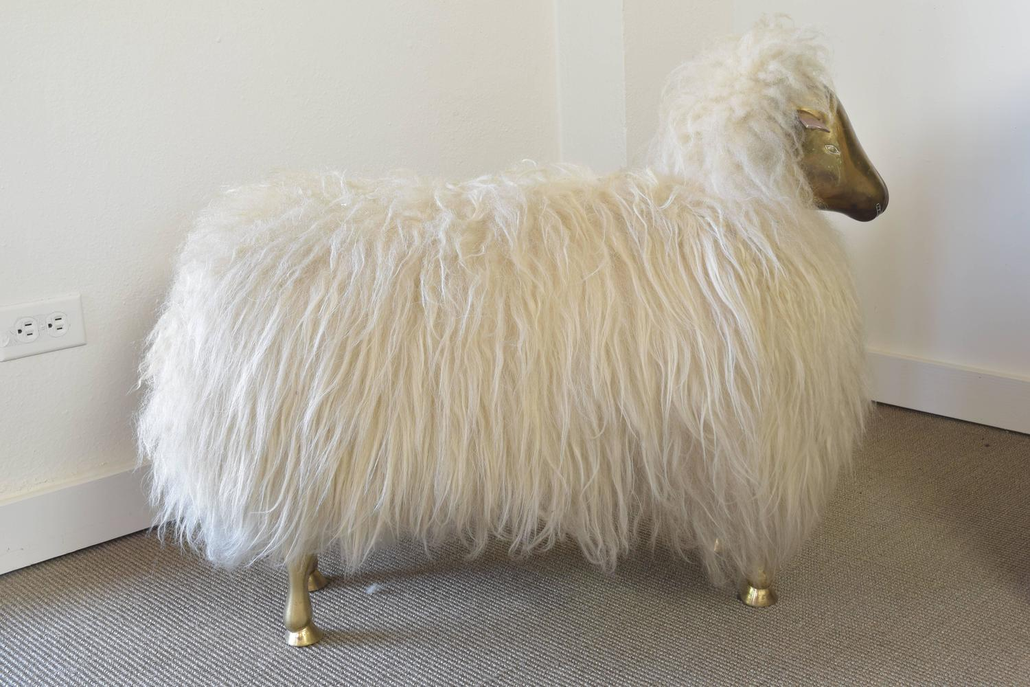Brass Lamb Sculptural Ottoman Manner Of Claude Lalanne For