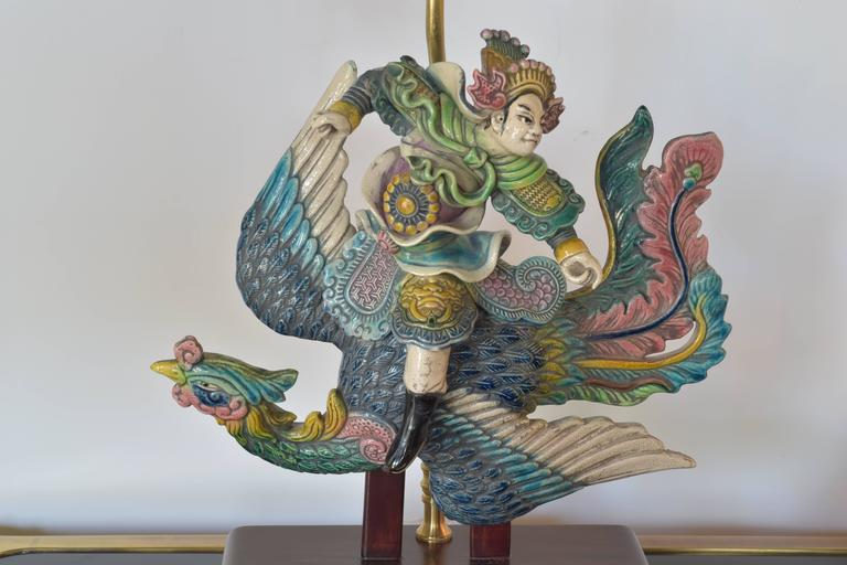 Chinese Warrior Roof Tile As A Lamp At 1stdibs