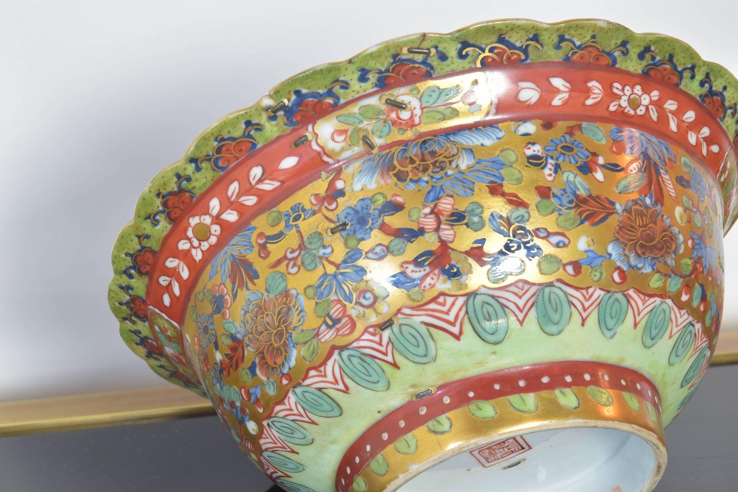 Antique Chinese Bowl With Staple Repair For Sale At 1stdibs