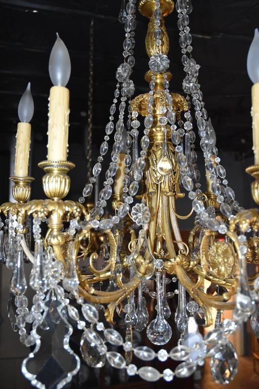 Bronze Six 6 Arm Chandelier With Faceted Crystal Prisms