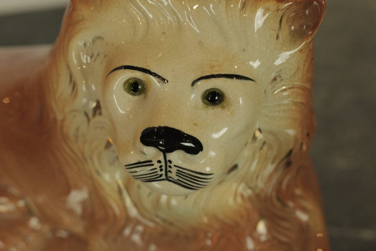 19th Century Staffordshire Lion For Sale