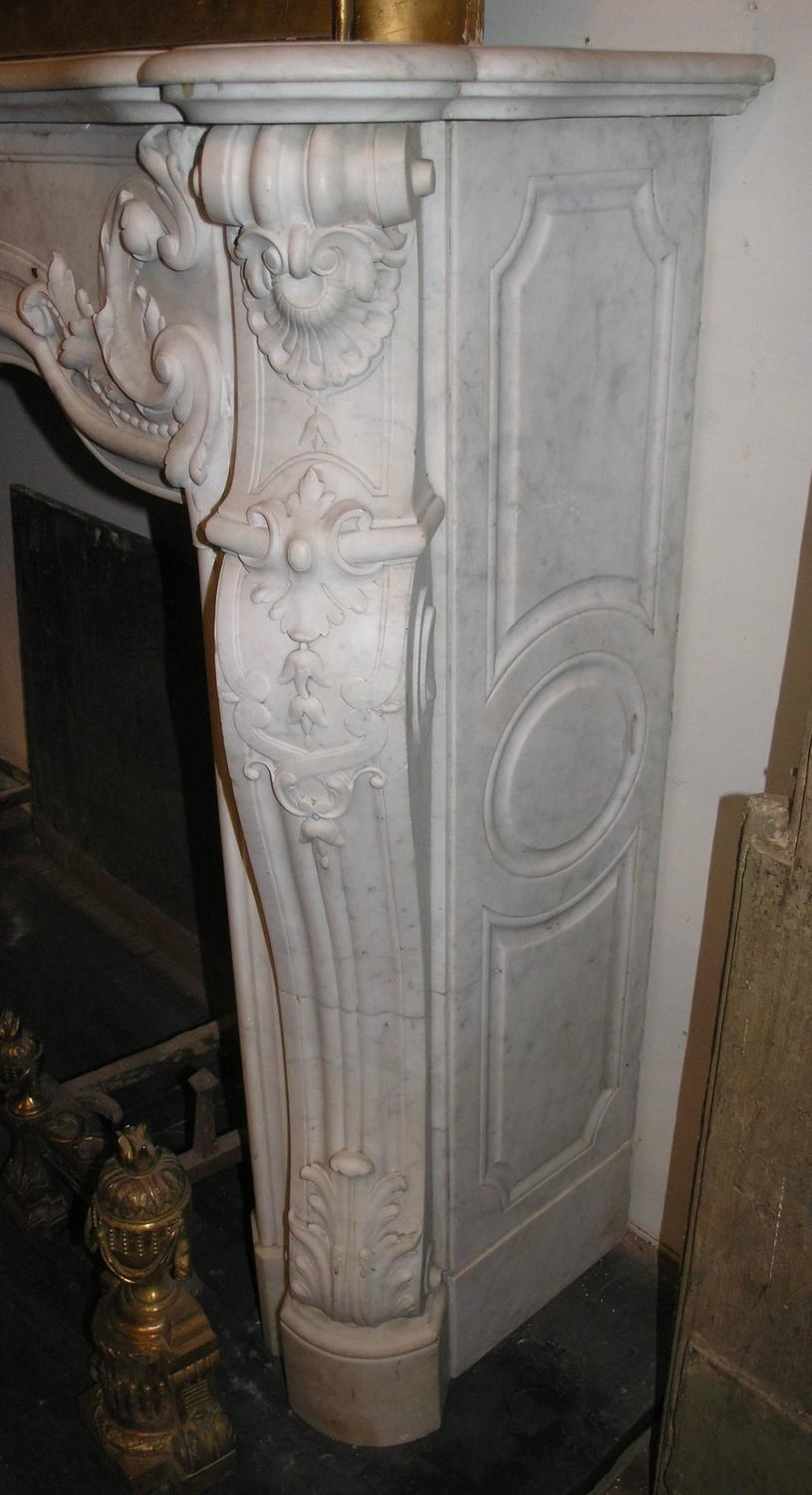 antique rocaille marble fireplace for sale at 1stdibs Wood Fireplace antique ceramic fireplace tiles