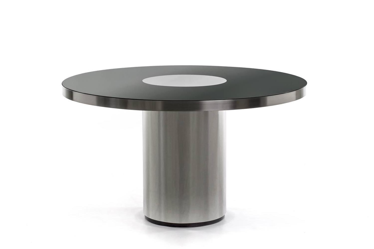 round black mirrored dining table in the style of willy rizzo for sale at 1stdibs. Black Bedroom Furniture Sets. Home Design Ideas