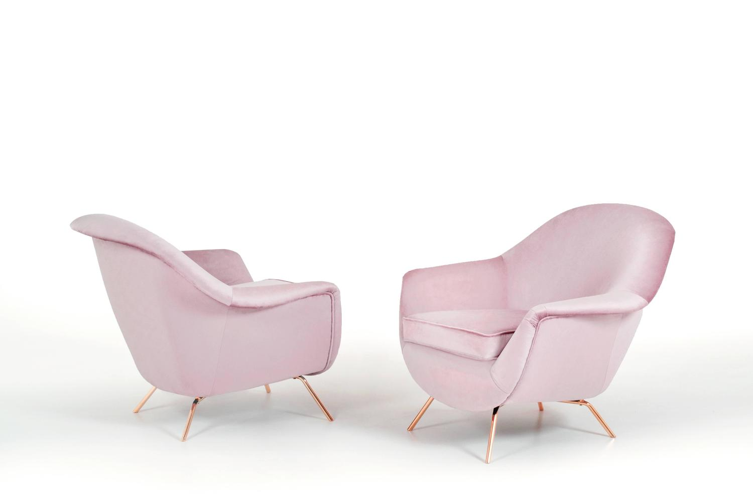 Pair of Old Pink Italian Lounge Chairs 1950s at 1stdibs