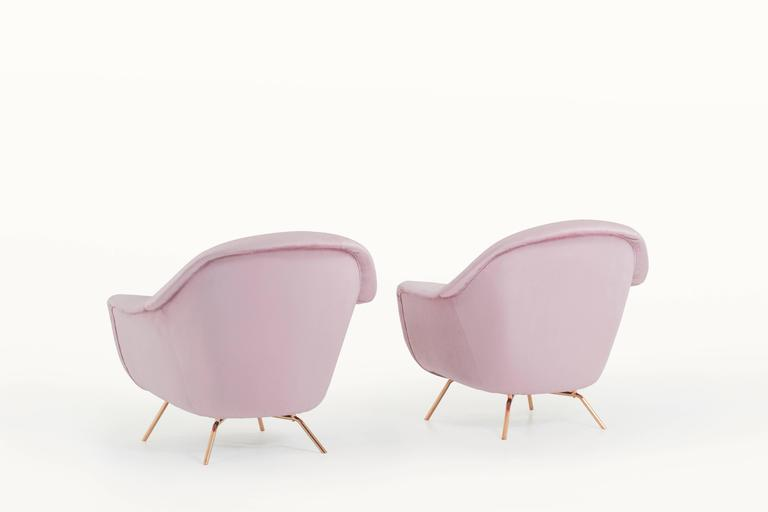 Pair Of Old Pink Italian Lounge Chairs, 1950s At 1stdibs