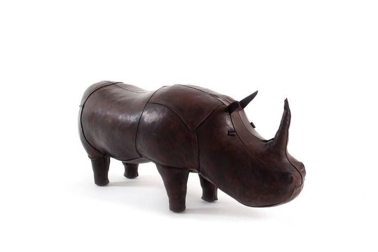 Original Big Leather Rhinoceros Footstool At 1stdibs