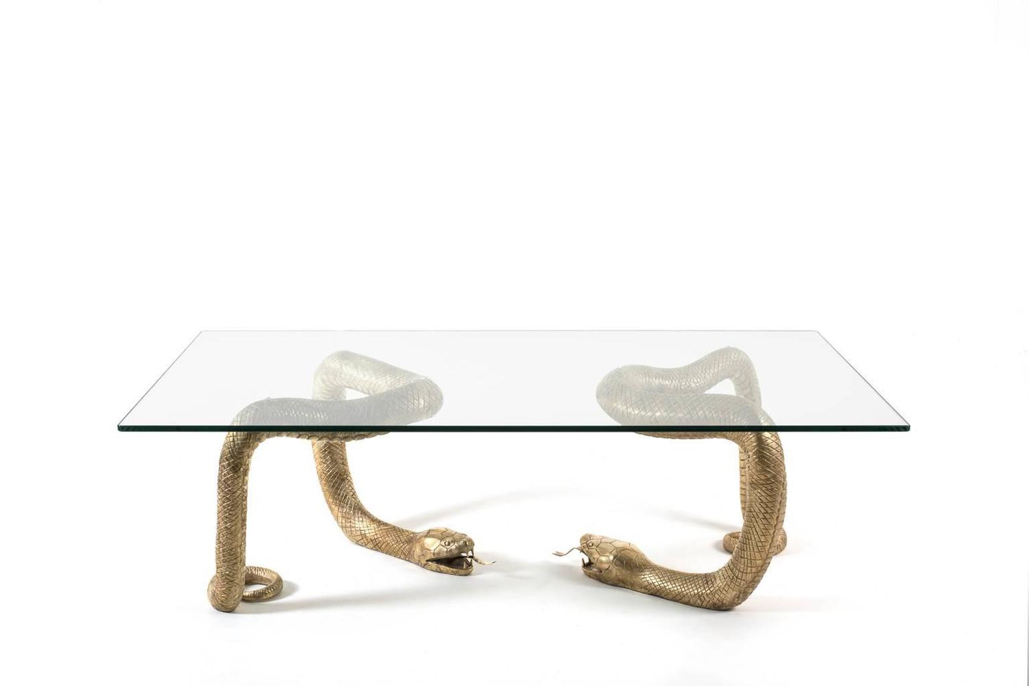 Brass python coffee table attributed to alain chervet at for Table in python