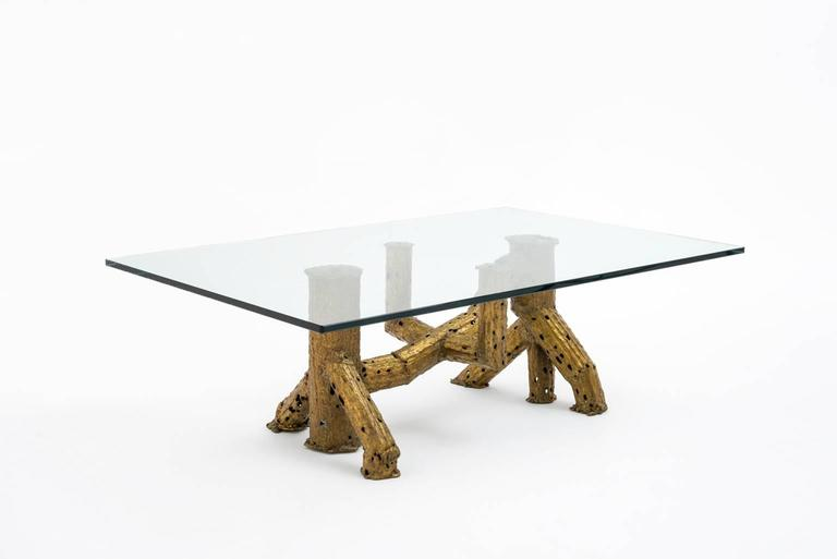 Sculptural gilded brass coffee table by Artist Paul Moerenhout, Belgium, circa 1970. Unique piece. The sculptural base is made of abstracted trunks of a cactus with beautiful details of artistic expression. In excellent condition.