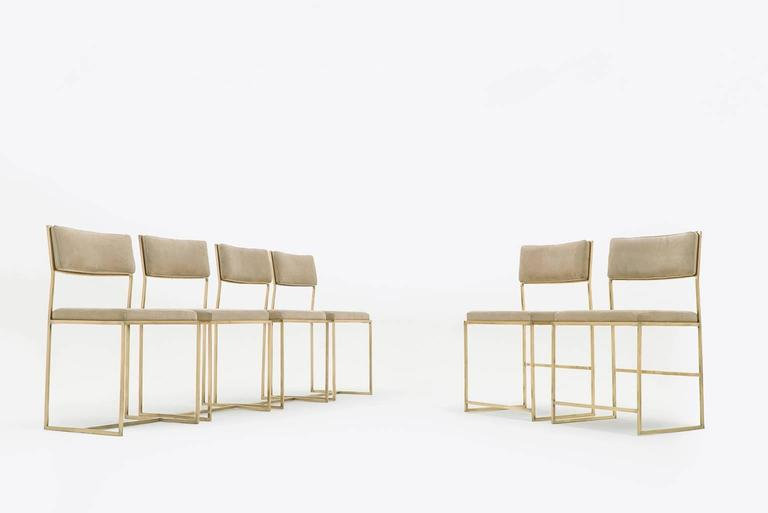 brass italian dining chairs with suede upholstery at 1stdibs