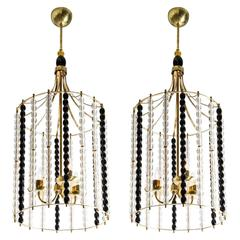 Pair of Mid-Century Murano Bird Cage Lantern Chandeliers Attributed to Barbini