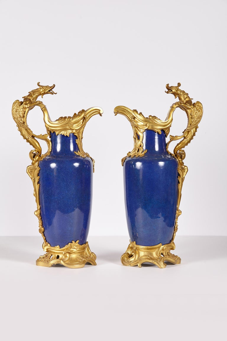 Pair of 19th Century French Louis XV Style Gilt Bronze-Mounted Chinese Vases In Good Condition For Sale In Dallas, TX
