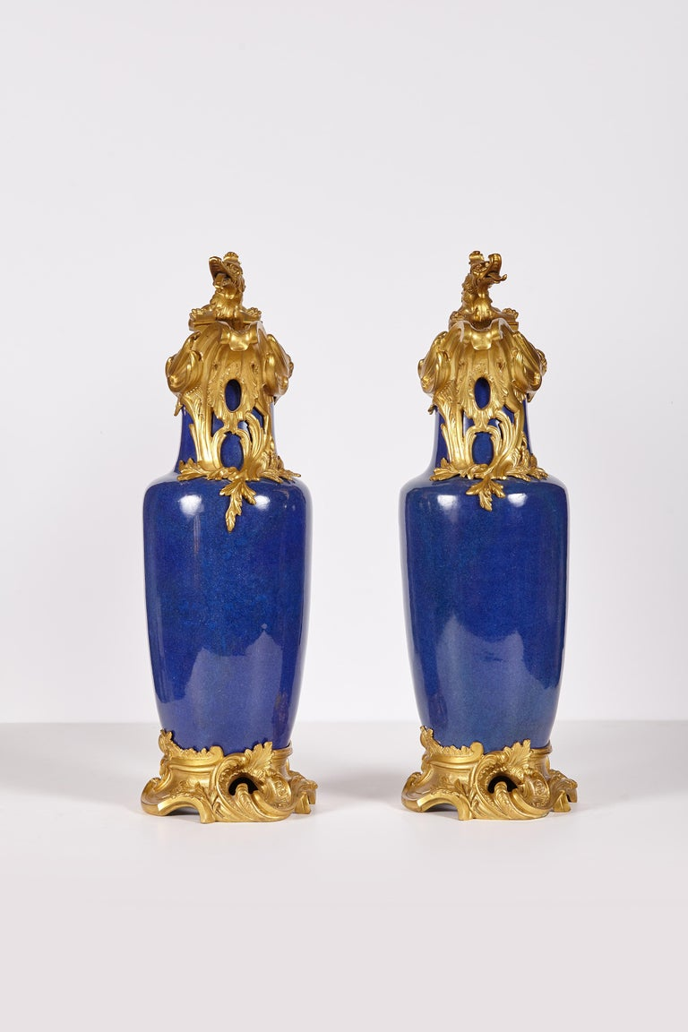 Pair of 19th Century French Louis XV Style Gilt Bronze-Mounted Chinese Vases For Sale 1