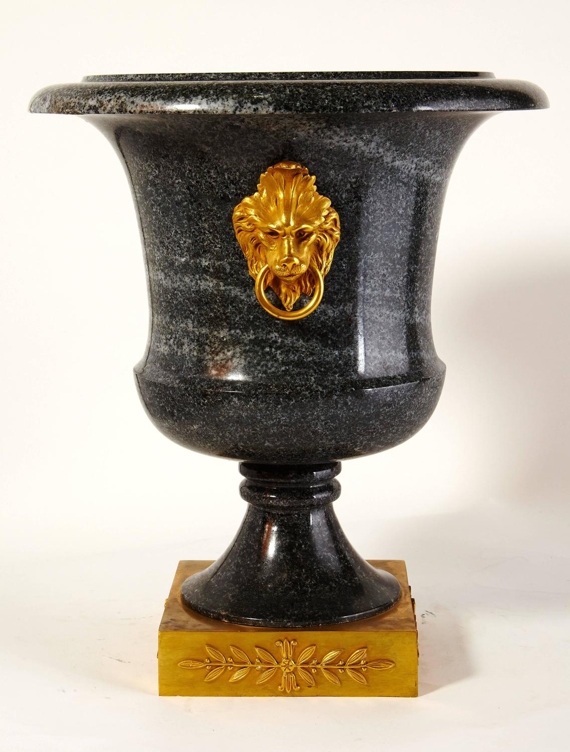 Pair of large neoclassical green granite and gilt bronze urns for sale at 1stdibs - Large decorative vases and urns ...