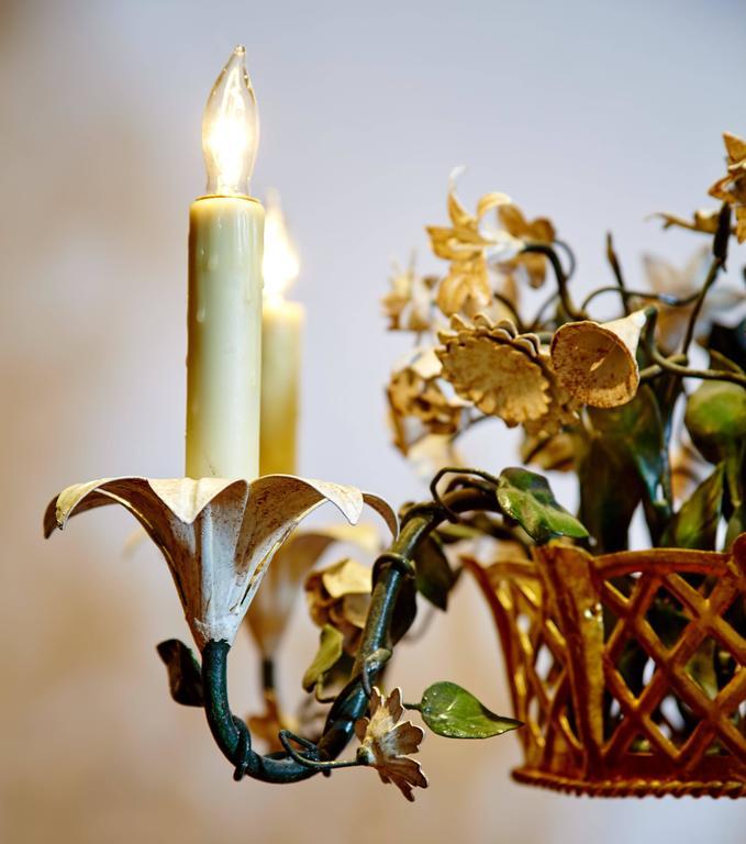 French Tole Flower Basket Chandelier 3
